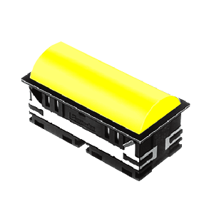 BL - 30mm - rectangular - Domed style, with LED illumination - Yellow - RJS Electronics Ltd
