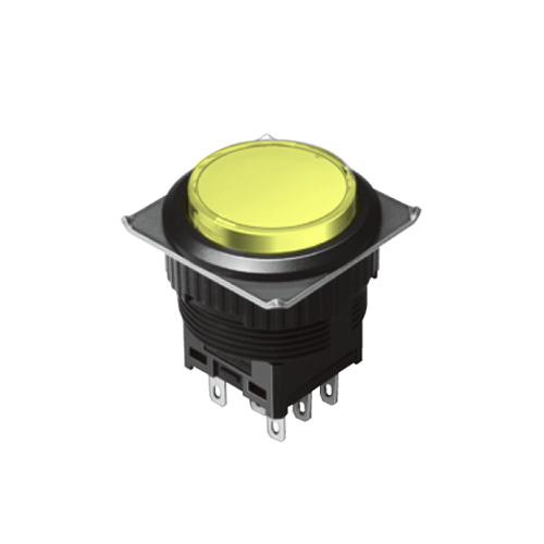 EH-G- Illuminated Push Button Switches - Round - Yellow - RJS Electronics Ltd.