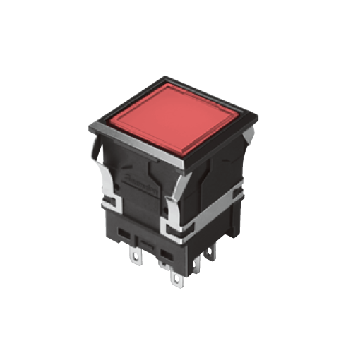 810 - EH-G- Illuminated Push Button Switches - SQUARE - Flat - Red - RJS Electronics Ltd. Panel Mount Switch.