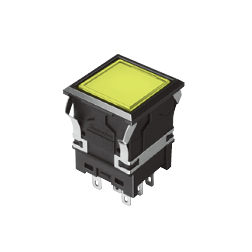 810 - EH-G- Illuminated Push Button Switches - SQUARE - Flat - YELLOW - RJS Electronics Ltd. SPDT/DPDT, Connector Type