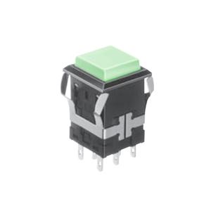 FH - Illuminated Switch - Square - Green LED Illumination - RJS Electronics Ltd