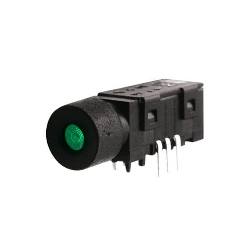 LED illuminated push button switch, dot illumination, pcb terminals, rjs electronics ltd