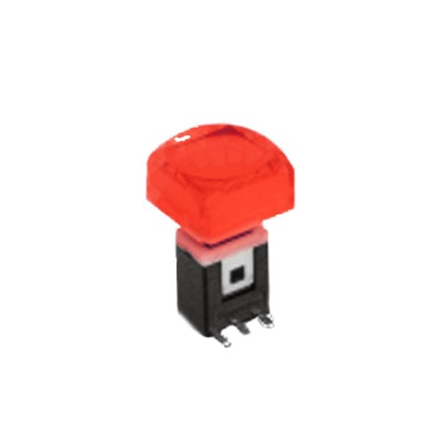 RJS-K2 15mm Push Button Switch RED illuminated push button with alternative caps, sigle, bi-colour LED illumination. RJS Electronics Ltd.