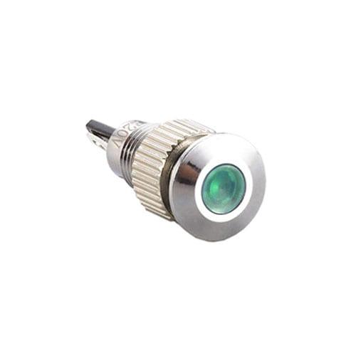 panel mount LED indicator, brushed steel, 8mm with LED Illumination.