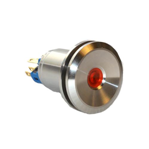 22mm metal anti vandal push button switch with dot led illumination. available at rjs electronics ltd