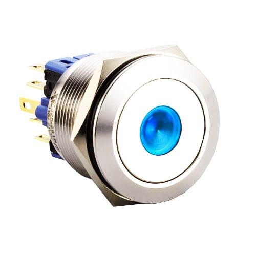 RJS(12)03-25L(A)-F-D-(LED)-(BSBLK)-(XV)-67J_BLUE, 25mm push button metal switch.
