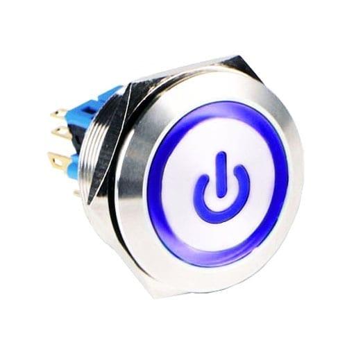 RJS(12)03-28L(A)-F-(CUSTOM)-(LED)-(BSBLK)-(XV)-67J_BLUE, 28mm push button metal switch