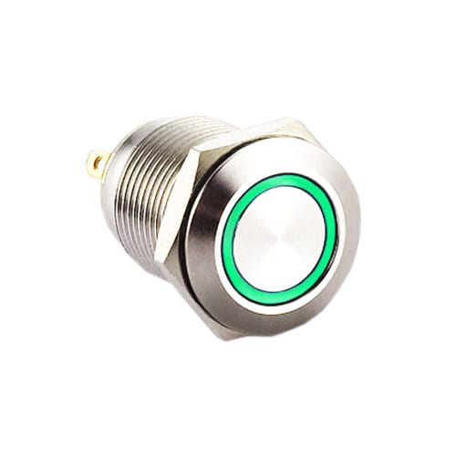 RJS1N1-12L-F-R-(LED)-(BSBLK)-(XV)-67J - green, panel mount, push button switch with LED illumination, LED illuminated push button switch. Ring LED, single, dual and RGB LED illumination. Latching function. RJS Electronics Ltd.