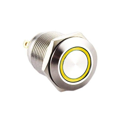 RJS1N1-12L-F-R-(LED)-(BSBLK)-(XV)-67J - YELLOW, panel mount, push button switch with LED illumination, LED illuminated push button switch. Ring LED, single, dual and RGB LED illumination. Latching function. RJS Electronics Ltd.