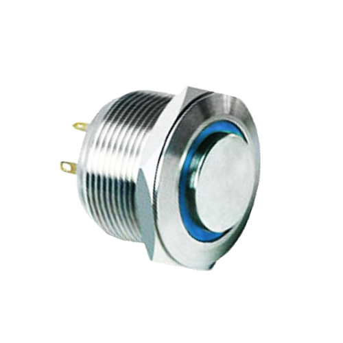 22mm metal anti-vandal push button switch with ring led illumination - rjs electronics ltd