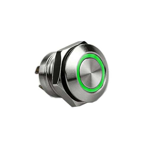 RJS1N1LP 12MM GREEN, SHORT BODY, MICRO TRAVEL, PUSH BUTTON METAL SWITCH, LED RING ILLUMINATION