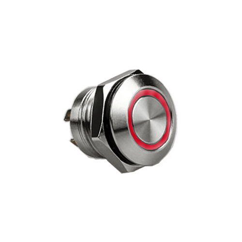 RJS1N1LP 12MM RED, SHORT BODY, MICRO TRAVEL, PUSH BUTTON METAL SWITCH, LED RING ILLUMINATION