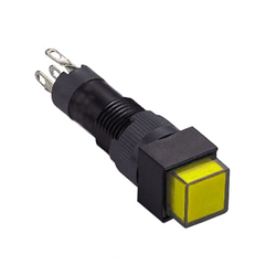 panel mount, plastic push button switch with full LED illumination. Available in red, green, yellow and blue. RJS Electronics Ltd.