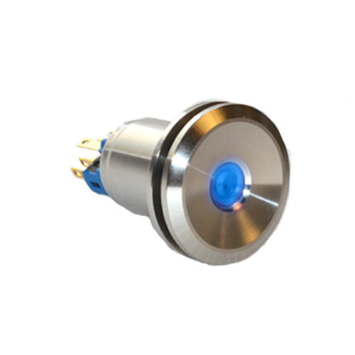 25mm metal anti-vandal push button switch with dot LED illumination and mushroom domed face. Rjs electronics ltd