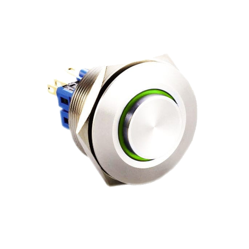 30mm metal anti vandal push button switch with LED Illumination available at rjs electronics ltd