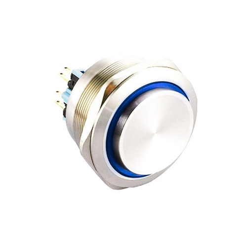 40mm metal anti vandal push button switch with LED illumination. Latching option with IP67 rating, available at RJS Electronics Ltd