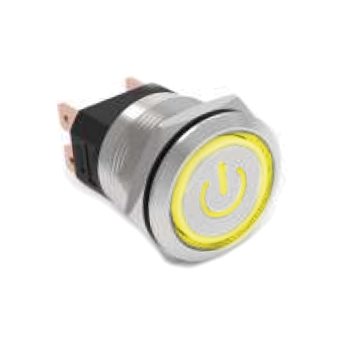high current metal anti vandal push button switch with power and ring led illumination. rjs electronics ltd