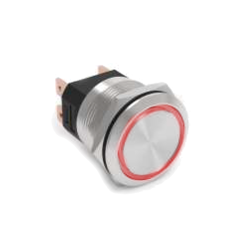 High current 25mm metal anti vandal push button switch with LED illumination, available at rjs electronics ltd