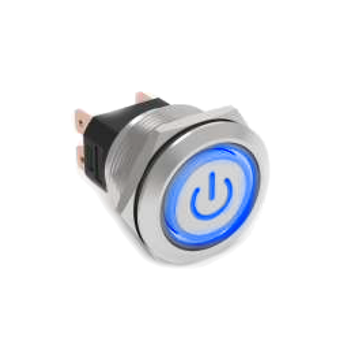 High current metal anti vandal push button switch with LED illumination, available at rjs electronics ltd