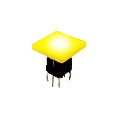 push button switch with led illumination. Tactile feel, pcb terminals. RJS Electronics