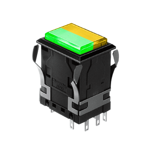 WH Illuminated push button switch - rectangular - green +yellow - 19x26mm push button switch - RJS Electronics Ltd.