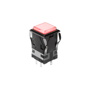 WH Illuminated push button switch - square - red - 19mm push button switch - RJS Electronics Ltd.