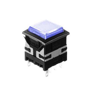 XH Illuminated push button switch - square - blue - 19mm push button switch - RJS Electronics Ltd.