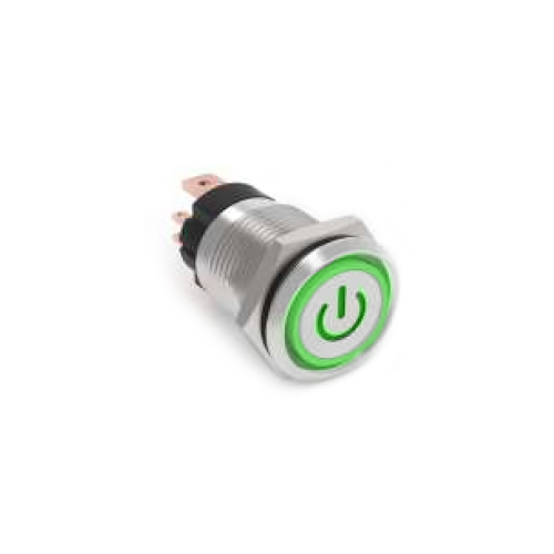 RJS107-16L(A)-F-C5~67J, rjs electronics ltd, high current push button switch with custom, power symbol LED illumination. RJS Electronics Ltd.