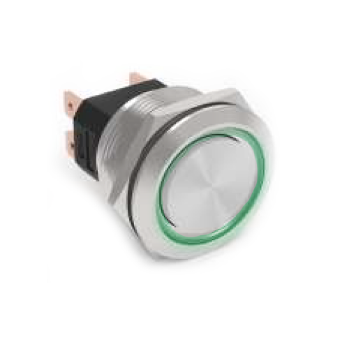 RJS[X]07-25L(A)-F-R~67J, rjs electronics, high current metal push button switches with ring LED illumination.